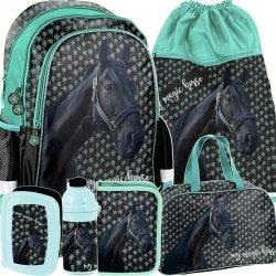 Mocny Plecak Szkolny Czarny Koń dla Dziewczynki Konie Komplet [PP19KN-081]