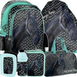 Plecak dla Dziewczynki Szkolny Czarny Konik Zestaw [PP19KN-081]