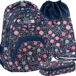 Piękny Plecak w Kwiaty Młodzieżowy Szkolny Zestaw [PPMZ19-2708]
