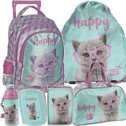 Plecak na Kółkach dla Dziewczyny Szkolny w Koty Kotki Komplet [PTF-1221]