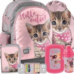Plecak na Zajęcia Szkolne z Kotkiem Kotem Kot Szary Różowy [PJC-116]
