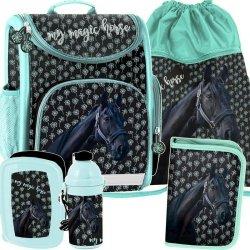 Tornister dla Dziewczyny Szkolny Czarny Koń Komplet [PP19KN-524]
