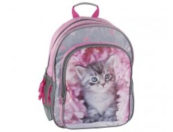 Plecak Szkolny Różowy z Kotem do Szkoły dla Dziewczyny [RAM -090]