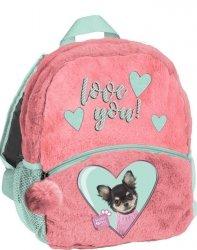 Pluszowy Plecak Przedszkolny Plecaczek Mały Piesek dla Dziewczynki [PQD-305]