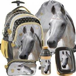Plecak na Kółkach dla Uczennicy Koń Szkolny Zestaw [PP19H-997]