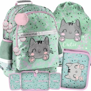 Szkolny Plecak dla Dziewczyny Kotek Kot Zestaw 3w1 [PP21CA-116]