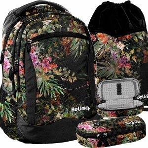 Modny Plecak w Kwiaty Czarny Młodzieżowy Szkolny Dziewczęcy [PPRS20-2808]