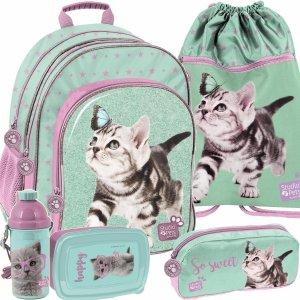 Plecak Szkolny z Kotkami dla Dziewczyny do 1 Klasy [PTN-090]