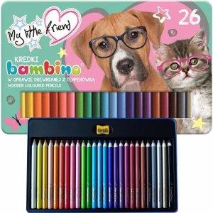 Kredki Bambino w Metalowym Pudełku Szkolne 26 Kolorów z Pieskiem Kotkiem [625077]