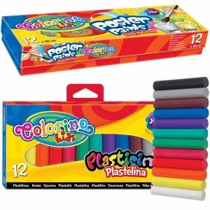 Farby Plakatowe 12 Kolorów + Plastelina 12 kol Zestaw Colorino [13239PTR/1]