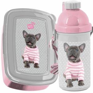 Komplet Śniadaniówka Bidon Pies Buldog dla Dziewczynki Paso [PTP-3021]