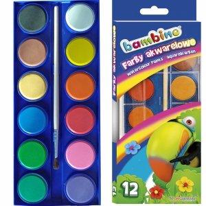 Farby Akwarelowe Bambino Akwarele 12 Kolorów Pędzel [001857]