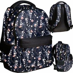 Vintage Kwiaty Plecak Młodzieżowy Dziewczęcy Czarny Szkolny BeUniq [PPRO20-2705/16]