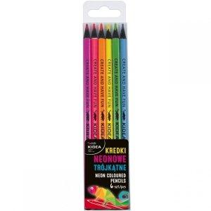 Neonowe Kredki Trójkątne 6 Kolorów Kidea Ołówkowe [KNT6KA]