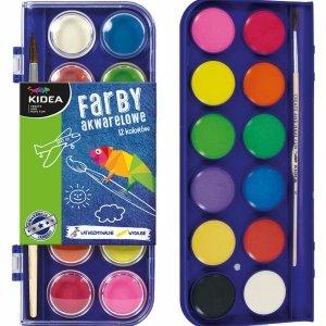 Farby Akwarelowe 12 Kolorów Wodne kidea Pędzel dla Dzieci [FA12KKA]