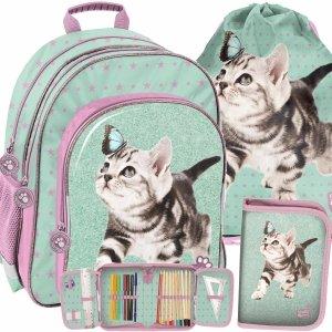 Plecak Szkolny dla Dziewczynki z Kotkami Motylem Paso [PTN-090]