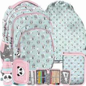 Plecak Szkolny Paso Miętowy w Pandy dla Dziewczynek [PP21PD-2706]