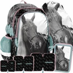 Dziewczęcy Plecak do Szkoły z Koniem Koń Komplet Paso [PP21KE-081]