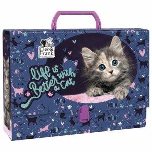 Kot Gruba Teczka z Rączką z Kotkiem dla Dziewczynki [TRGCF30]