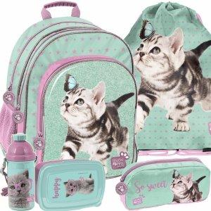 Nowy Plecak z Kotami dla Dziewczynek Miętowy Fioletowy [PTN-090]
