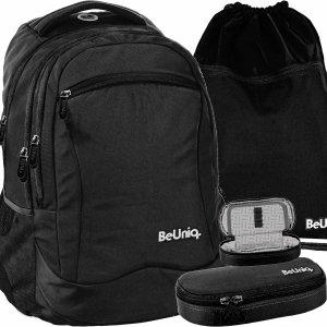 Modny Czarny Młodzieżowy  Plecak Szkolny BeUniq Paso [PPBK20-2808]