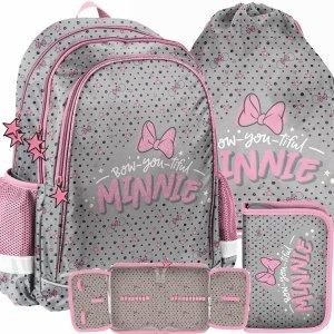 Plecak Dziewczęcy Myszka Mini do Szkoły Różowy Szary [DNF-081]