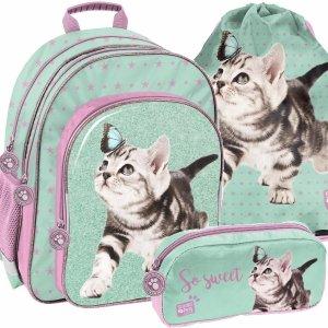 Szkolny Plecak z Kotami dla Dziewczynki Miętowo-Fioletowy [PTN-090]