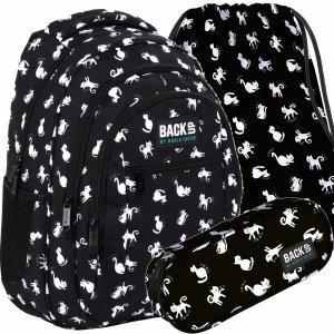 Kotki Czarny Plecak Szkolny Młodzieżowy BackUP Derform [PLB4O34]