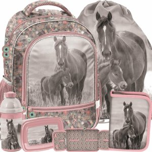 Konie na Plecaku Szkolnym dla Dziewczynki Szary Różowy Komplet [PP20KO-260]