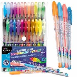 Długopisy Żelowe Fluorescencyjne 24 Kolory Kidea dla Dzieci [DZ24KA]