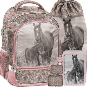 Nowy Szkolny Plecak Dziewczęcy Koń Konie Komplet Paso [PP20KO-260]