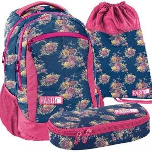 Plecak Młodzieżowy Szkolny Niebieski w Kwiaty Komplet 3w1 [18-2808UX]