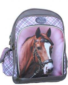 Plecak w Konie Szkolny dla Dziewczynki Szary Różowy [607765]