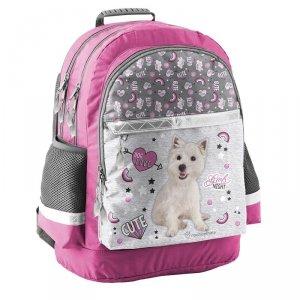Plecak Szkolny z Białym Pieskiem Pies dla Dziewczyny
