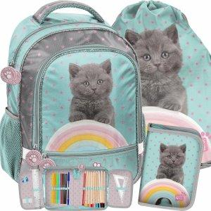 Plecak z Kotem Szkolny dla Dziewczynki do 1 klasy Paso [PTL-260]