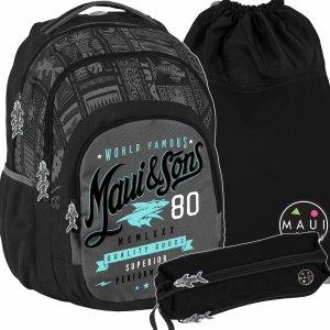 Duży Czarny Plecak Młodzieżowy Szkolny Maui&Sons [MAUA-2706]