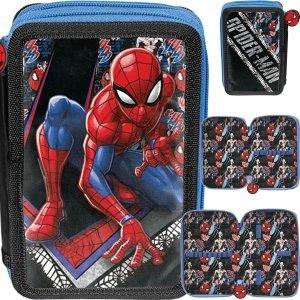 Piórnik Spiderman Szkolny Dwukomorowy dla Chłopaka Paso [SPW-P022BW]