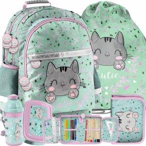 Dziecięcy Plecak Szkolny Kotek dla Dziewczynek w odcieniach zieleni [PP21CA-116]