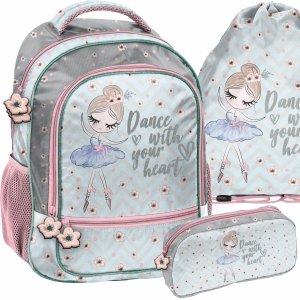 Zestaw 3w1 Plecak Szkolny dla Dziewczyny Baletnica Tancerka do 1 klasy [PP21BL-260]