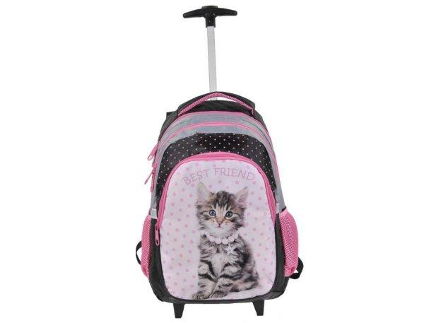 Plecak na Kółkach z Kotkiem Kot Kotek Szkolny dla Dziewczyny