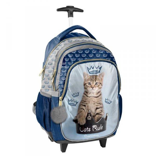 Plecak z Kotem na Kółkach Kot Szkolny dla Dziewczyny RHU-997