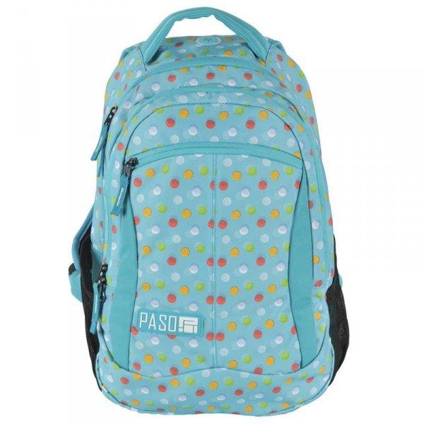 Plecak Młodzieżowy dla Dziewczyny Szkolny Niebieski w Kropki 17-2808uB