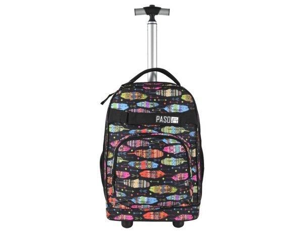Plecak na Kółkach Młodzieżowy Czarny w Kolorowe Piórka