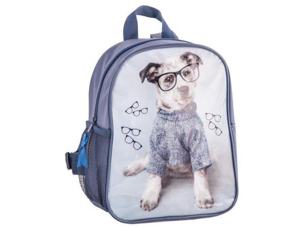 plecak przedszkolny z pieskiem w sweterku i okularach dla dziewczynki do przedszkola