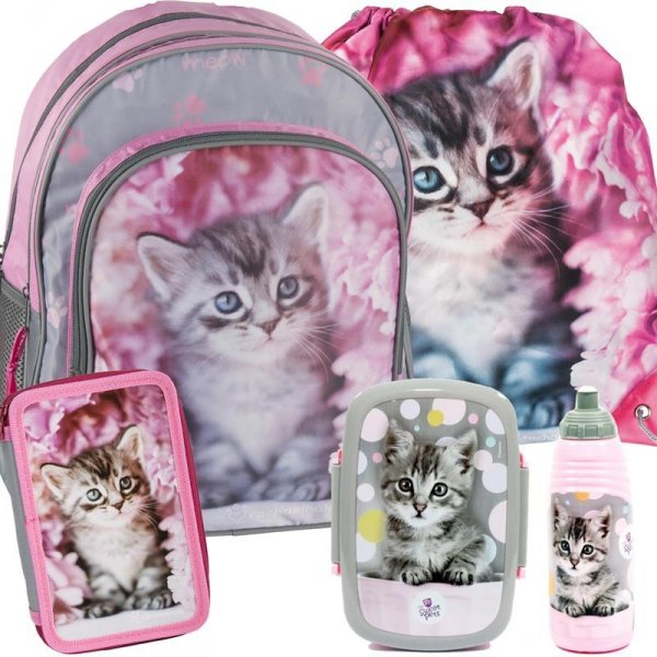 Plecak Szkolny Kot Kotek dla Dziewczyny Różowy Zestaw [RAM-090]