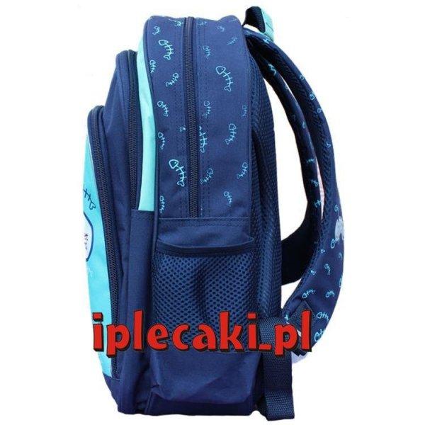 plecaki szkolne z kotem niebieski
