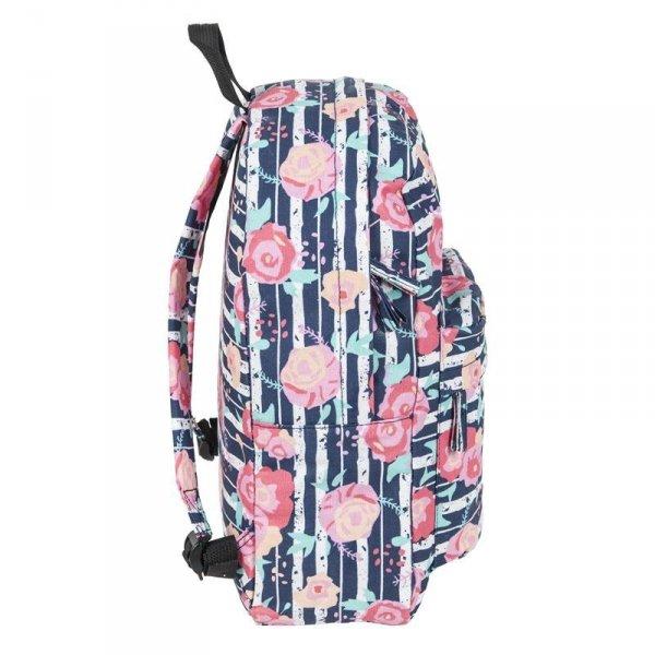 Plecak Vintage Młodzieżowy Szkolny dla Dziewczyny Kwiaty 17-780P