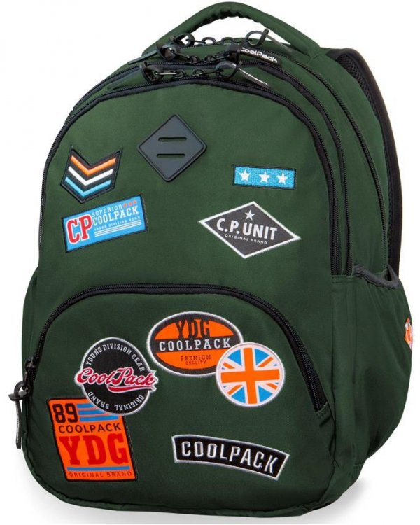 Plecak CP CoolPack Zielony z Naszywkami Młodzieżowy [B24054]