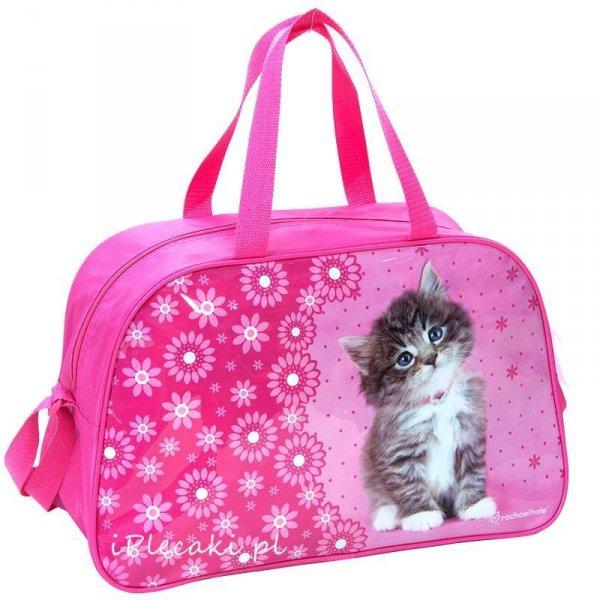 torba sportowa dziecięca podróżna z kotem kotkiem ze zwierzętami różowa Rachael Hale