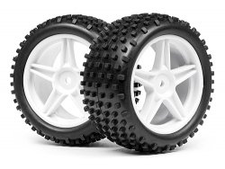 1/10 Buggy White Rear Wheel & Tyre Assembly